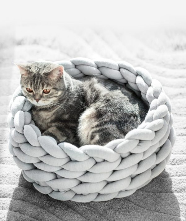 DIY Handmade Wool Knitting Cotton Large Pet Dogs Cats Bed Cozy Soft Warm Kennel - HahaGet