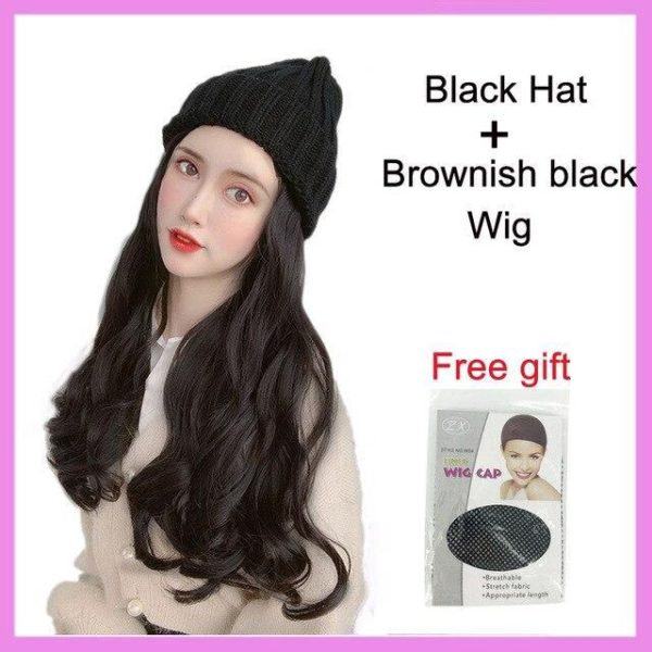 Long Straight/Wavy Knitted Wig Hat - HahaGet