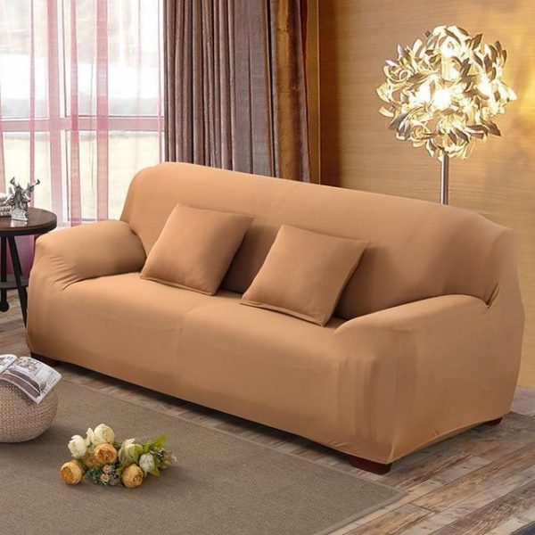 Solid color sofa cover stretch seat couch - HahaGet